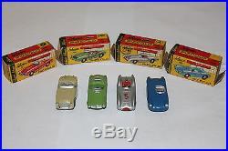 4 Old Schuco Piccolo Cars & Boxes 708 Porsche 702 Mercedes 709 Austin 707 BMW