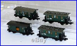 4x Fleischmann piccolo Personenwagen 2x 8051, 8052, 8055 Spur N