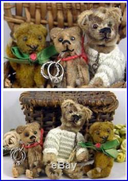 Adorable 1920s Schuco Teddy Bears 2 Piccolo & Perfume Bottle