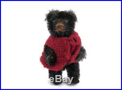 Antique Teddy Bear Schuco Piccolo Black Mohair Black Felt Pads Miniature Germany