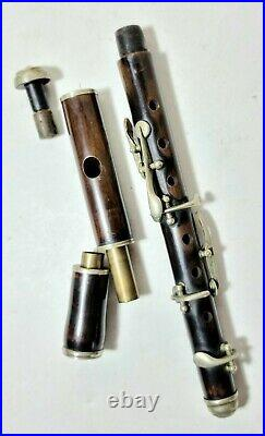 Antique Transverse Rosewood Corona Orchestra Flute And Unsigned 6 Key Piccolo