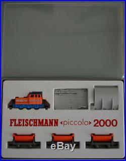 Fleischmann N piccolo 2000 Diesellok 2307 3x Kipploren 2456 Entladestelle 2456
