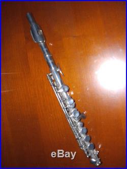 Flûte piccolo L. ROTINAT à BOURGES en métal système Boehm Antique old flute
