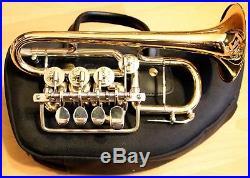 Handgemachte neuwertige Hoch B Piccolo-Trompete Eckensberger. Goldmessing