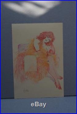 Leone Frollo illustrazione originale firmata di piccolo formato 17x24cm circa