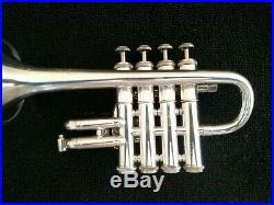 Nice Silver Plated Getzen 940 Eterna Four Valve Piccolo Trumpet Original Case