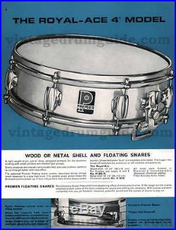 PREMIER 1960'S ROYAL ACE SNARE DRUM 14 x 4 PICCOLO RARE! WMP CLEAN INSIDE & OUT
