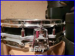 Pearl Black Steel Shell 3.5x14 Free Floating Piccolo Snare Drum Stainless Rims