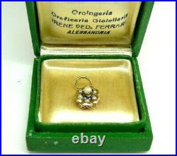 Piccolo Ciondolo Antico Con Perle Oro Massiccio 18 Kt Italiano Fine Ottocento