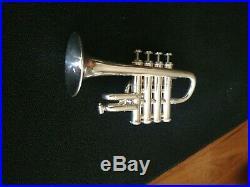 Pristine Silver Plated Getzen 940 Four Valve Professional Piccolo Trumpet w Case
