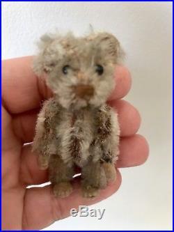 Rare Antique Miniature 2.5 Gray Mohair Schuco Piccolo Bear Nice Nr