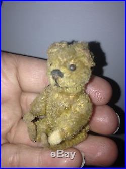 Rare Antique Miniature 2.5 Mohair Schuco Piccolo Bear Felt Hands & Feet Nice