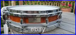 Rare Pearl Vintage Free Floating Piccolo 3.5 Snare Drum Maple Die Cast Amber