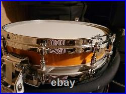 Rare Pearl Vintage Orig Free Floating Piccolo 3.5 Snare Drum Maple Liquid Amber