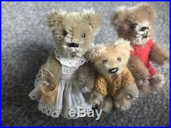 Rare Vintage Schuco Piccolo Teddy Bears The 3 Bears #2- Papa, Mama And Baby Bear