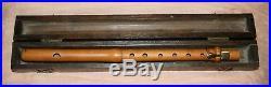Rare antique 18th boxwood french flute piccolo + wooden case 1 square key