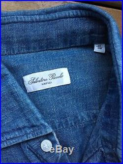 Salvatore Piccolo Napoli Italy Mens Hand Made Japanese Chambray Shirt 15/38
