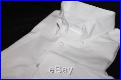 Salvatore Piccolo Solid White Button Collar Ltwt OCBD Oxford Cotton Button Down
