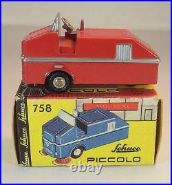 Schuco Piccolo 1/90 No. 758 Faun Kehrmaschine rot Street Sweeper in O-Box #6918