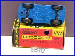 Schuco Piccolo 712 VW Beetle Käfer blau mit Box + Beiblatt