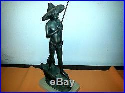 Scultura statua bronzo marmo Il Piccolo Pescatore firmata G. Varlese fine 800