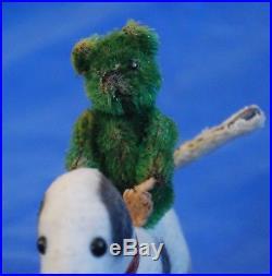 Sweet RARE Antique 1920's Bright Green 2.5 Piccolo Schuco Teddy Bear Felt Feet