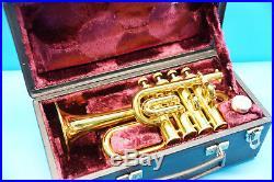 Taschentrompete Senator Piccolo Amati Kraslice im Koffer J158