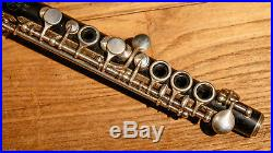 Time Capsule Antique Professional French Wooden H. Pihan Db Piccolo Flute c. 1900