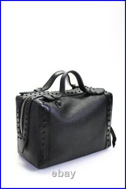 Tods Womens Don Bauletto Gommino Piccolo Satchel Handbag Black Pebbled Leather