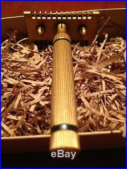 UNIQUE Fatip Piccolo Brass Safety Razor Cerakote coating rose gold black circles
