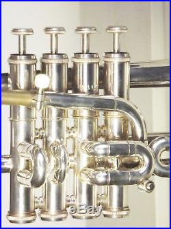 VNice 70s Getzen Eterna Pro 4 Valve Silver Piccolo Trumpet