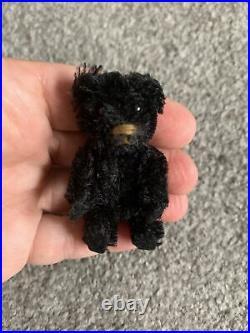 Very Rare Antique Tiny Black Mohair Schuco Piccolo MinI Bear 2.5 Felt Paws LOOK