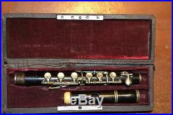Very old french piccolo flute made by noblet and g leblanc la couture iron stamp