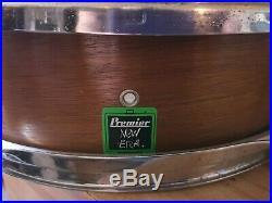 Vintage Premier New Era 14 X 4 Piccolo Snare Drum in Natural Mahogany Finish