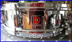 Vintage Premier Royal Ace Chrome Snare Piccolo Drum 14 X 4